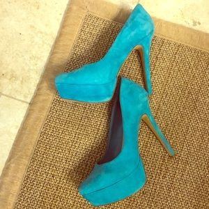 Blue suede shoes. (Aqua in color). Gently used!
